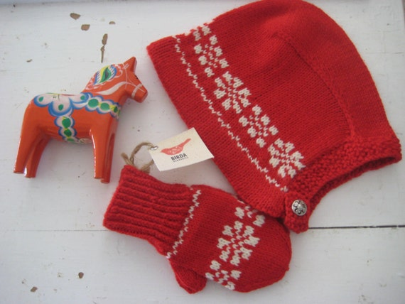 Toddler Bonnet and Mittens Scandinavian Vintage-inspired Design   ANNELISE