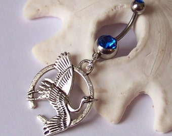 Charm Belly Button Ring - Piercing - Curved Barbell - Navel Piercing - Tibetan Silver Flying Crane - Made to Order