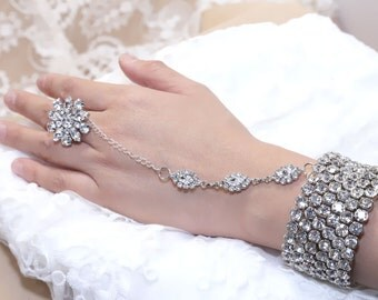 Rows Chained Rhinestone Crystals Wedding Bridal Cuff Armlet  Bangle Slave Bracelet with Ring