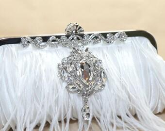 Rhinestone Wedding Clutch Purses with Ostrich Feathers Rhinestone Crystal Dangle/rhombus Brooch Pin