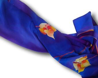 Hand painted silk neckerchief with irises in blue. Blue, yellow, purple.