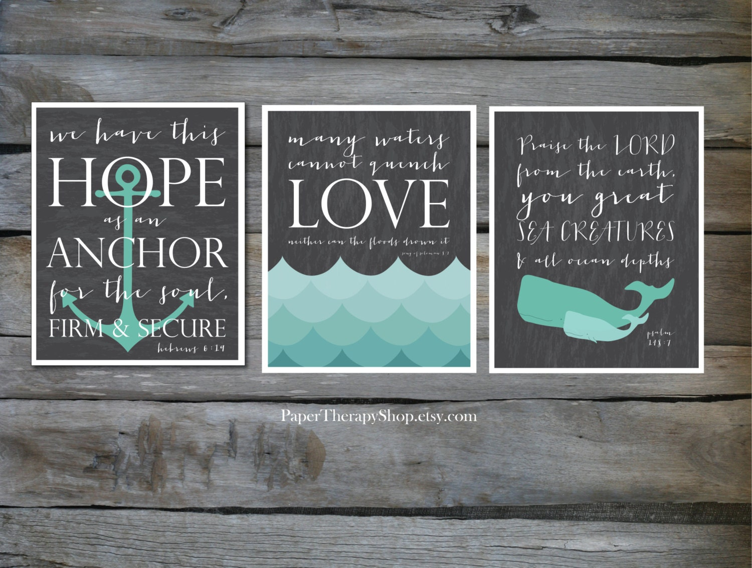 3 Nautical Prints Based On Bible Verses Water Whale And