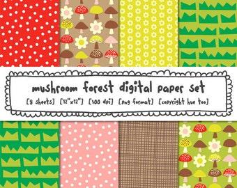mushroom forest digital paper, woodland digital photography backgrounds, toadstool pink red brown polka dots crosshatch, png files 436