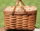 Reserved for April Sage ~ Basket  Antique West Rindge Original Picnic Basket Old Oak Splint Basket Picnic Basket removable slotted pie shelf