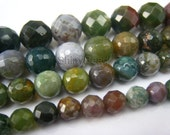 Indian agate faceted round bead 10mm 15 inch strand