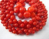 red coral graduated bone bead 17.5 inches strand