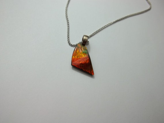 Canadian Ammolite Pendant with 1mm 20'' Spiga Sterling Silver Chain