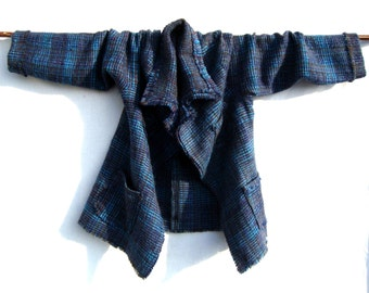 Handwoven Jacket Mohair  Blue OOAK for Women