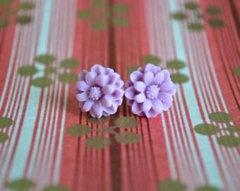 Lilac Dahlia Earrings
