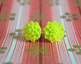 Key Lime Chrysanthemum Earrings