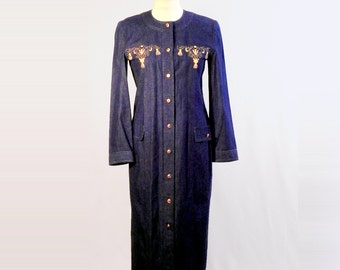 Vintage Denim Dress, Blue Dress, Long Sleeve Dresses, Gold Threads Embroidered, Maxi Dress, Women's Dresses, Classic Dress, Vintage Dress
