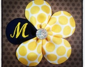 Monogrammed Navy, Yellow and White Polka Dot 5 Petal Flower Hairclip....Baby Hairbow...Toddler/Girls Hairbow...Monogram Hairbows