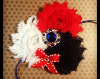 Red, White and Blue Shabby Chic Flower Headband...Adult Headbands...Baby/Infant Headbands...Hairbows