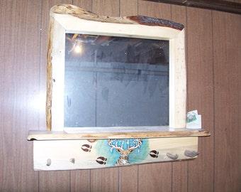 rustic log  furniture mirror with 5 inch edge/ log cabin/ cabin decor/ log furniture mirror