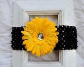 Black Crochet Elastic Headband with Removable Yellow Gold Flower Daisy Hair Clip Accessory Baby Girl Birthday Shower Gift Teacher Present