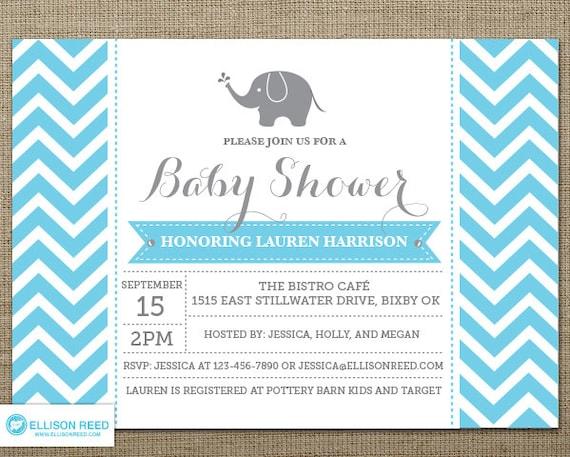 Baby Shower Invitation Boy Baby Shower invitation Chevron