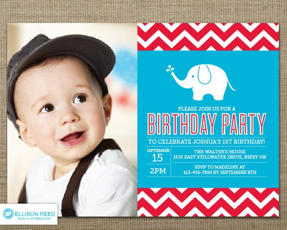 First Birthday invitation Elephant Birthday Invitation