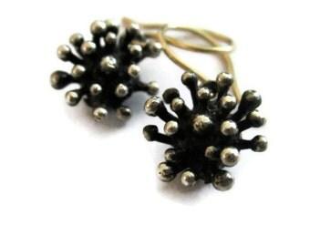 Oxidized Silver Dangle  Earrings, Starburst Earrings,  Small Earring Drops, Tiny Flower Earrings, Artisan Handmade by Sheri Beryl