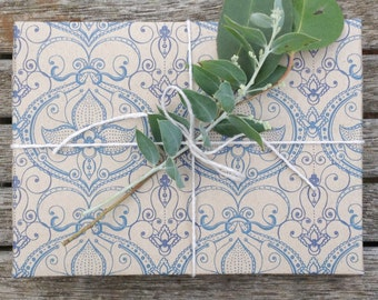 Beautiful Classic Wrapping, Scrapbooking or Origami Paper 'Gaston Blue'