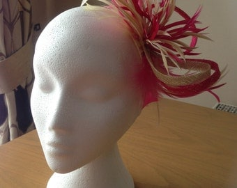 Hot Pink and Cream Sinamay  and Feather Fascinator, Races, Weddings, Prom, Cruise