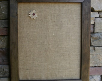 """22""""x26"""" Beautiful Walnut stained Frame with burlap Cork Board"""