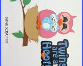 RESERVED FOR KAREN Twins are a Hoot - Premade Scrapbook Paper Piecings Border Embellishments Owls