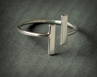 Parallel - open ring - two bars - parallel ring - sterling silver 925 - handmade - Jewelry by KatStudio