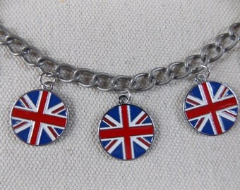 Union Jack bracelet, British flag charms, Anglophile jewelry, bracelet for tea party, flag of the UK, St George's cross, international flags