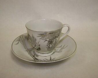 Nippon Teacup Silver Bamboo Cup & Saucer Meiyo China Nippon China Cup