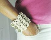Natural Hemp Broomstick Lace Cuff Bracelet, Gypsy Jewelry, Hippie, Tan, Beige
