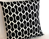Black and White Throw Pillow Cover, Oval Links - 18x18 inch Decorative Sofa Toss Cushion Cover - Ready to Ship