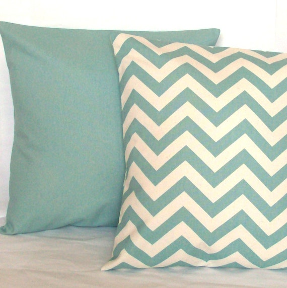 Items similar to Spa Blue Decorative Throw Pillow Covers, Chevron and Solid, Optional Zipper ...