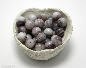Purple and White Striped Czech Round Glass Beads 8mm (20) Opaque druk beads. Two Colors