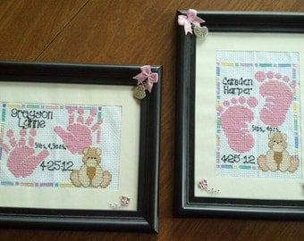 Baby Feet or Hands Birth Announcements - Multiple Styles Available - Handmade (Made to Order)