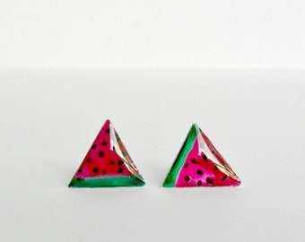 Watermelon tiny studs, fruit post earrings, summer everyday posts, free shipping, food jewelry