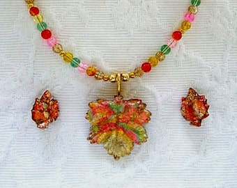 ON SALE Leaf Pendant Necklace & Earrings Vintage Jewelry Unique Necklace Colorful Glass Jewelry Orange Green Yellow Unique Gifts for Her