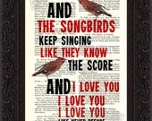 Fleetwood Mac Songbird  2 song lyric Print on upcycled Vintage Page mixed media digital