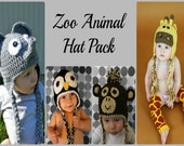 Zoo Animal 4 Pack, Giraffe, Monkey, Penguin, Elephant
