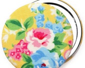 Compact Mirror/ Pocket Mirror/ Handbag Mirror, floral rose in yellow, compact mirrors for wedding favours & party bag fillers