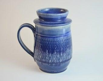 Mug with Lid for Holding Tea Bag, Blue Lidded Mug, Tea Bag Holder, Made to Order