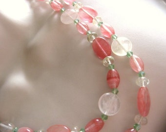 Heart's Love Amulet - Watermelon Tourmaline, 41 inches extra long, on 925 Silver - FREE Shipping