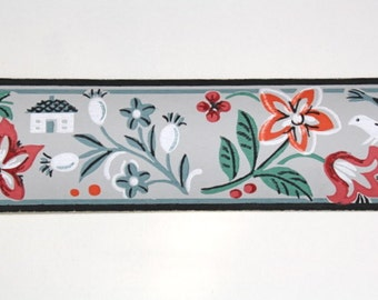 Full Vintage Wallpaper Border- TRIMZ - Orange and Red Novelty Flowers on Gray, Little House and Birds - 3 inch