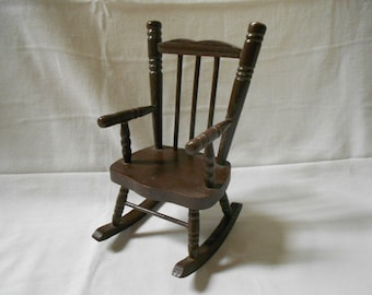 Vintage French Miniature Dollhouse Brown Painted Wooden Rocking Chair (A760)