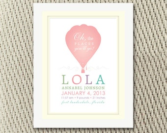 Pastel Pink Hot Air Balloon Baby Girl Wall Art with Birth Stats for Nursery Digital File