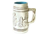 Unique Vintage Beer Stein, Turquoise Interior, Cream Colored Exterior