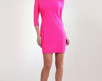 Fuchsia  heavy wool jersey dress