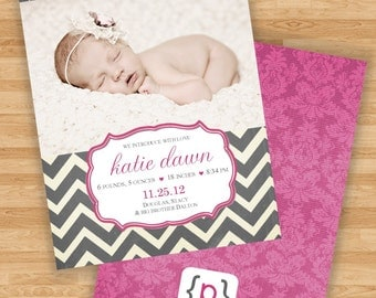 Baby Girl Birth Announcement - Chevron Stripe - Gray & Pink
