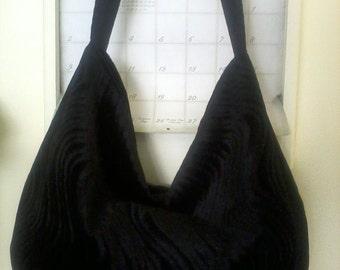 Large Black Velvet Hobo Bag Crossbody