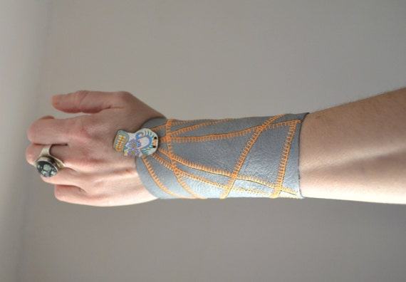 Geometric Leather Cuff Bracelet - Skull Leather Cuff Bracelet - Leather Cuff