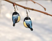 Chickadees bird earrings, сhristmas gift for her , mother's day gift - animal jewelry - nature-inspired - gift idea for her